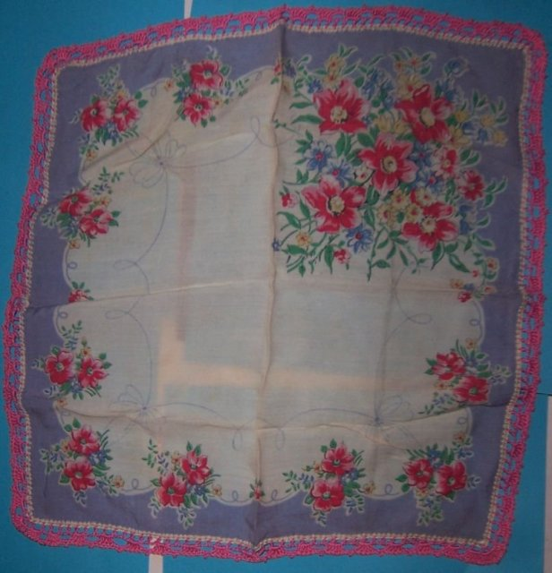 Red Floral Printed Handkerchief w/ Pink Crocheted Edge