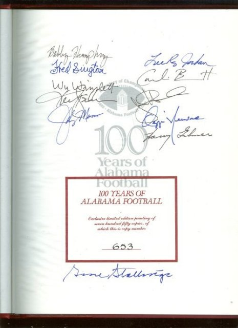 100 Years of Alabama Football Signed Limited Edition