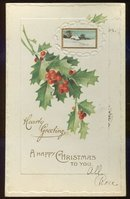 Happy Christmas Postcard With Holly and Winter Scene