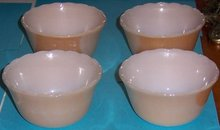 Set of Four Copper Tint Scalloped Edge Custard Bowls