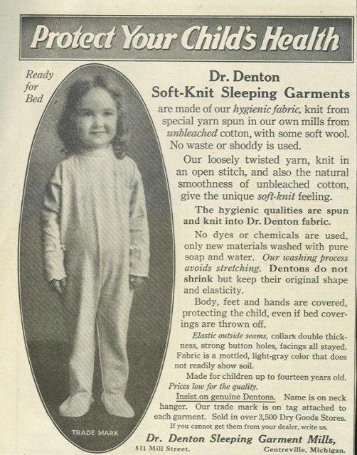 Dr. Denton Sleeping Garments 1921 Advertisement