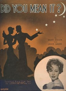 Did You Mean It Sung by Peggy Fears 1936 Sheet Music