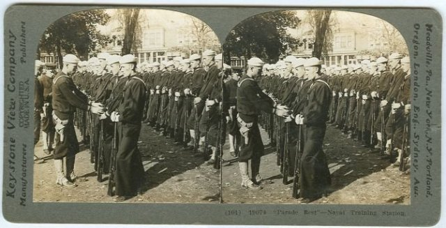 Parade Rest Naval Training Station Stereoview Card