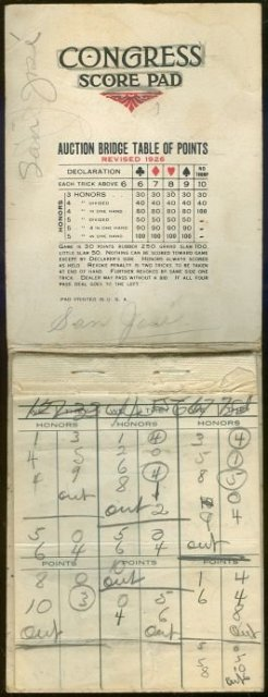 Masqueraders Deco Congress Score Pad Revised 1926