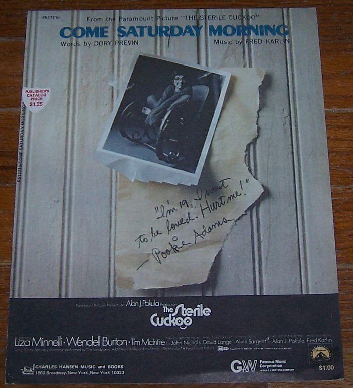 Come Saturday Morning From Movie The Sterile Cuckoo Starring Liza Minneli 1969