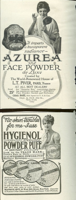 Azurea Face Powder and Hygeienol Powder Puff 1916 Advertisements
