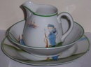Three Piece Nippon China Child's Dish Set WithHandpainted Sailor Boy