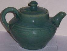Vintage Blue Green Glaze Pottery Tea Pot