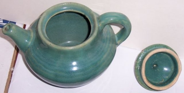Vintage Blue Green Glaze Pottery Tea Pot