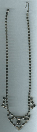 Vintage Clear Rhinestone w/ Drop Down Pendant Necklace