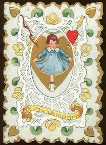Victorian Valentine with Dancing Girl in Blue Dress