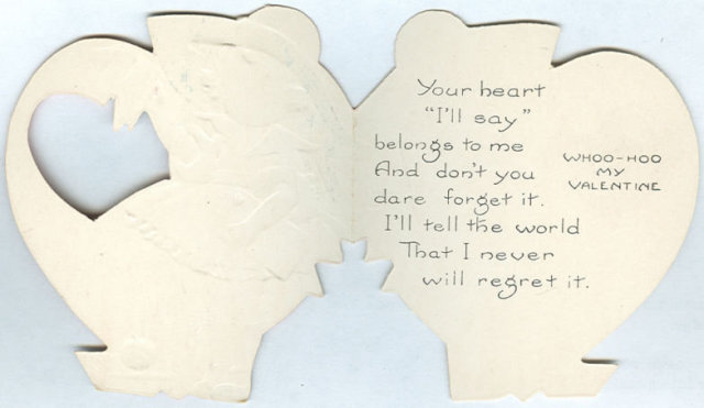 Vintage Valentine with School Girl in Cut Out Heart