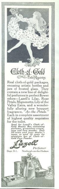 Lazell Pefumer Cloth of Gold 1916 Advertisement