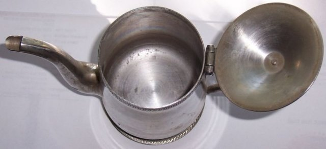 Vintage Stainless Milk Pitcher with Hinged Lid