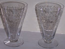 Pair of Vintage Elegant Etched Ice Tea Glasses