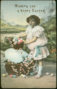 Wishing You a Happy Easter Little Girl 1908 Postcard
