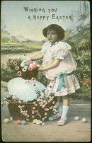 Wishing You a Happy Easter Little Girl 1908 Postcard