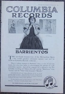 Barrientos on Columbia Records 1917 Magazine Advertisement