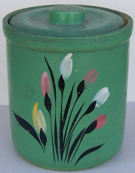 Robinson Ransbottom Green Pottery Cookie Jar with Flowers