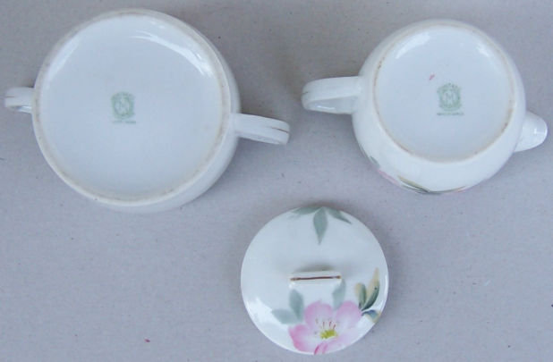 Noritake China Cream and Sugar with Pink Flowers