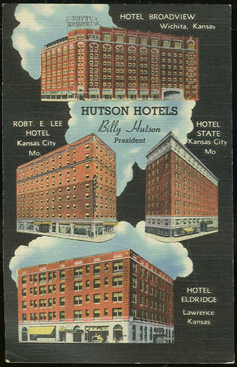 Postcard of Hutson Hotels, Missouri and Kansas