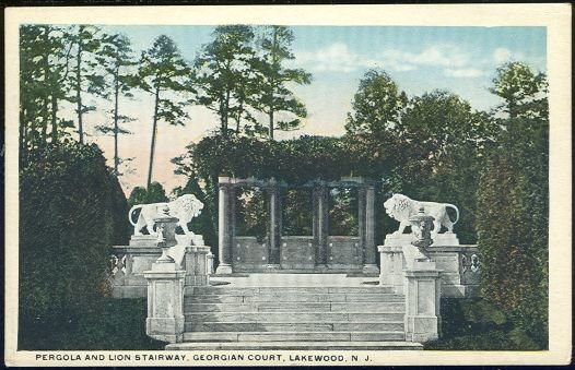 Postcard of Pergola and Lion Stairway, Georgian Court, Lakewood, New Jersey