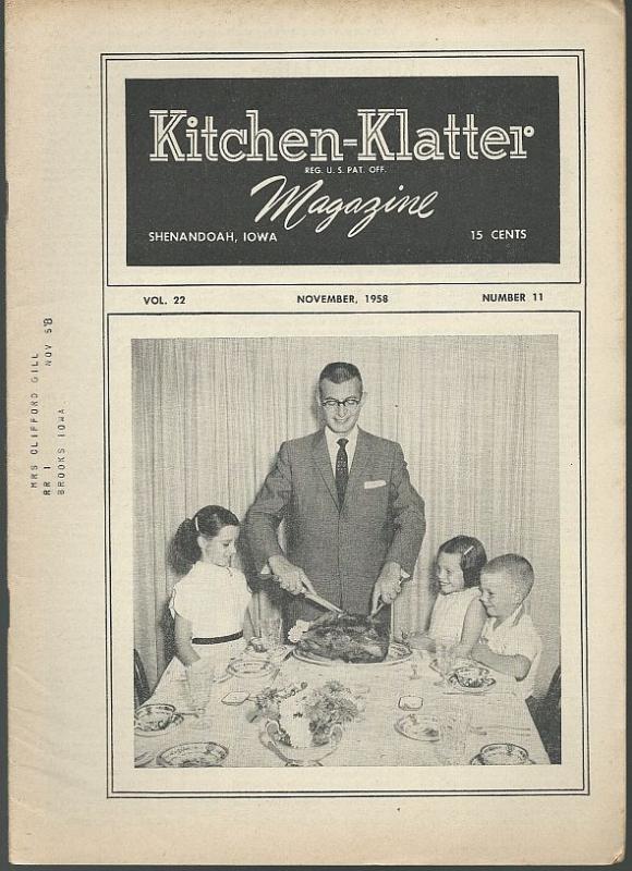 Kitchen Klatter Magazine November 1958 Thanksgiving Memories/Chocolate Cakes