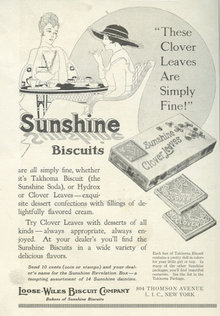 Sunshine Clover Leaves Biscuits 1916 Advertisement