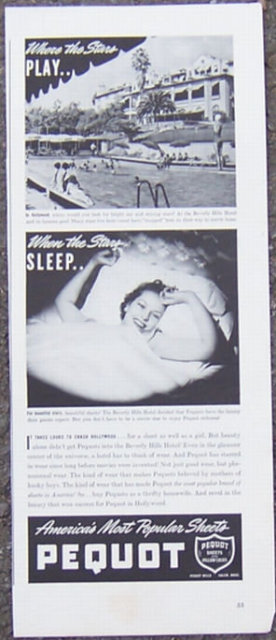 1940 Pequot Sheets in Hollywood Magazine Advertisment