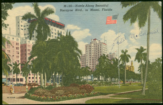 Postcard of Hotels Biscayne Blvd., in  Miami, Florida