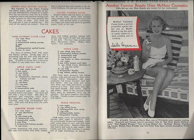 F.W. Mcness Cook Book 1933 Cake Recipes, Movie Star Advertising, Foreign Recipes