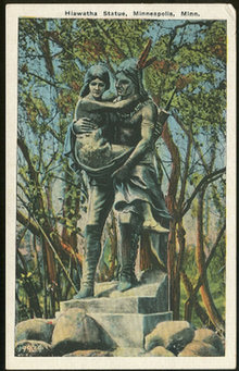 Postcard of Hiawatha Statue, Minneapolis, Minnesota