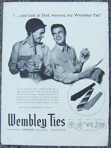 1944 World War II Wembley Nor-East Ties Magazine Ad