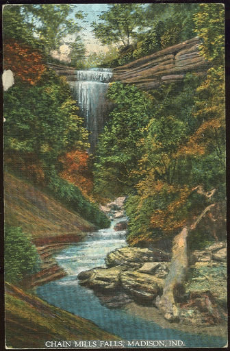 Postcard of Chain Mills Falls, Madison, Indiana