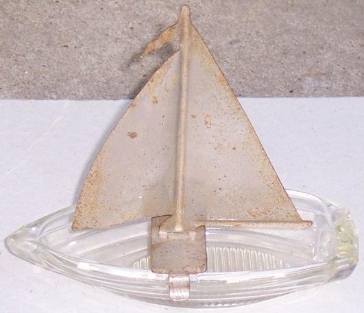 Vintage Glass Sailboat with Chrome Sail Ashtray