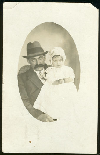 Real Photo Postcard of James Holding the Baby 1912