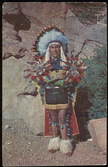 Postcard of North American Indian Chief in Full Dress
