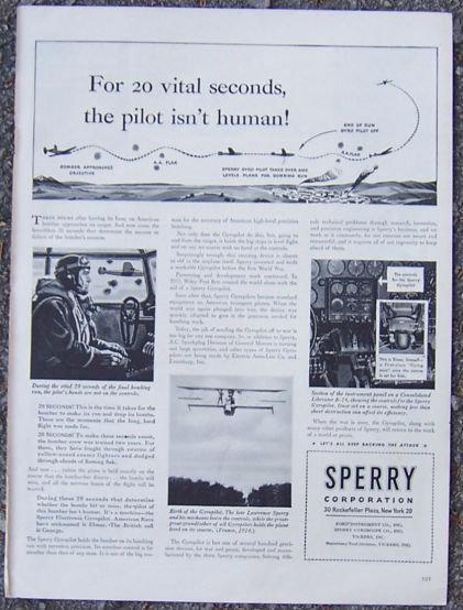 1944 World War II Sperry Corporation Life Magazine Advertisement