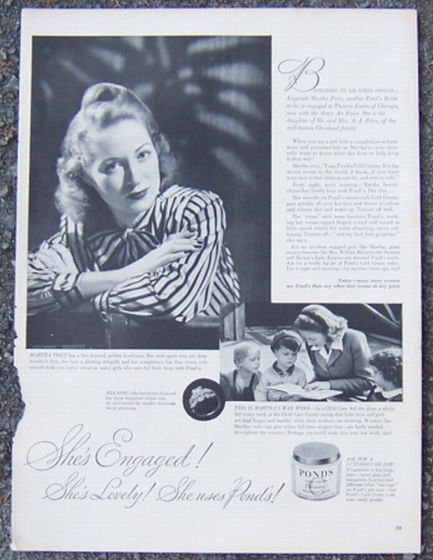 1944 Pond's Cold Cream  Life Magazine Advertisement