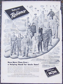 1944 World War II Reliance Clothing Life Magazine Advertisement