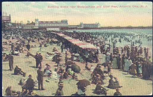 Bathing Scene Atlantic City, New Jersey 1914 Postcard