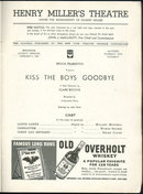 Playbill Helen Claire in Kiss the Boys Goodbye Jan 1939