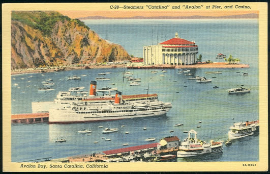 Postcard of Steamers Catalina and Avalon at Pier, California
