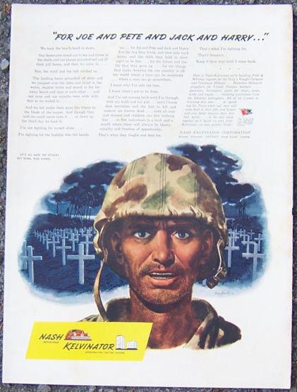 1944 World War II Nash Kelvinator Life Magazine Color Advertisement