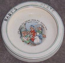 Vintage Roseville Pottery Nursery Rhyme Baby's Plate Bo Peep