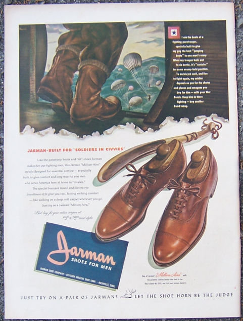 1944 World War II Jarman Shoes For Men Life Magazine Advertisement