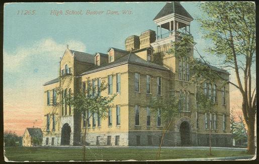 Postcard of High School, Beaver Dam, Wisconsin