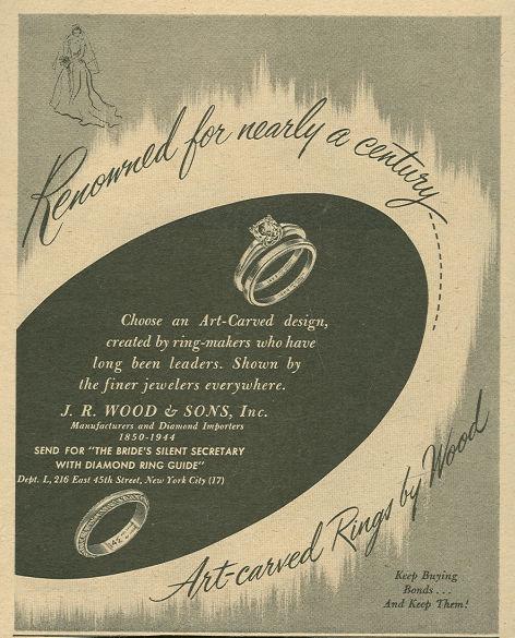 1944 World War II Art Carved Rings Life Magazine Advertisement