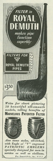 1944 World War II Royal Demuth Pipes Life Magazine Advertisement