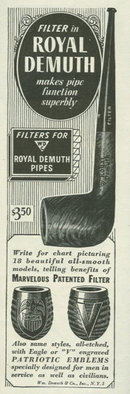 1944 World War II Royal Demuth Pipes Life Magazine Advertisement